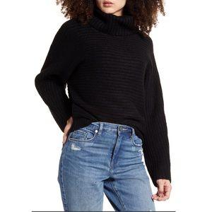 Leith Black Alpaca mix Dolman Turtleneck Sweater